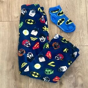 Other - Boys Superhero Batman Fleece Sleep Pants Sock NWOT